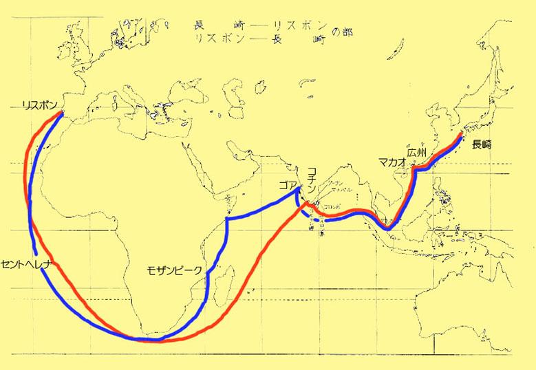 地図(長崎-リスボン) - カラー - コピー
